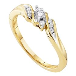 10kt Yellow Gold Round Diamond 3-stone Promise Bridal Ring 1/10 Cttw