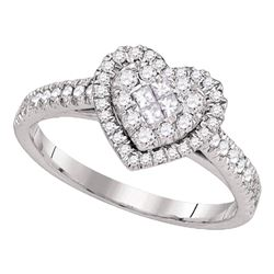 14kt White Gold Princess Round Diamond Heart Cluster Ring 1/2 Cttw