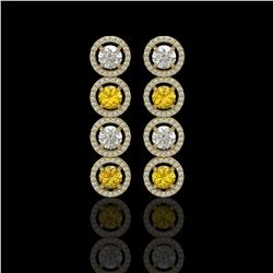 5.50 ctw Canary & Diamond Micro Pave Earrings 18K Yellow Gold