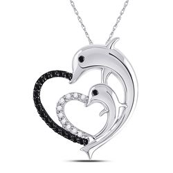 10kt White Gold Round Black Color Enhanced Diamond Dolphin Heart Pendant 1/8 Cttw