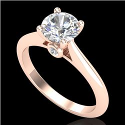1.08 ctw VS/SI Diamond Solitaire Art Deco Ring 18k Rose Gold