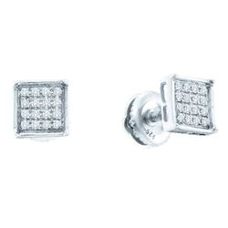 10kt White Gold Round Diamond Square Cluster Earrings 1/10 Cttw