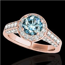 2.56 ctw SI Certified Fancy Blue Diamond Halo Ring 10k Rose Gold