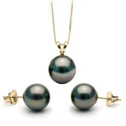 Black Tahitian Pearl Solitaire Pendant and Classic Stud Earring Set