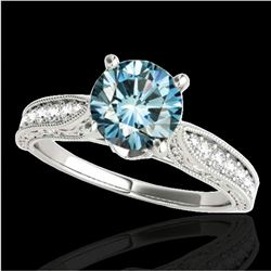 1.21 ctw SI Certified Blue Diamond Solitaire Antique Ring 10k White Gold