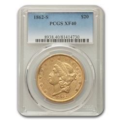1862-S $20 Liberty Gold Double Eagle XF-40 PCGS