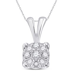 10kt White Gold Round Diamond Cluster Pendant 1/10 Cttw