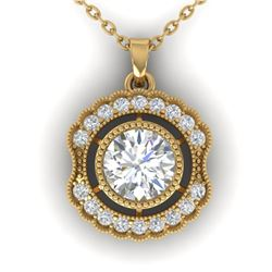 1.02 ctw Certified VS/SI Diamond Art Deco Necklace 14k Yellow Gold