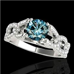1.5 ctw SI Certified Fancy Blue Diamond Solitaire Ring 10k White Gold