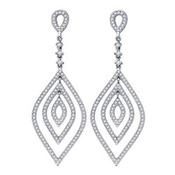 14kt White Gold Round Diamond Oval Dangle Earrings 1-1/5 Cttw