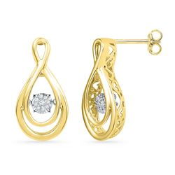 10kt Yellow Gold Round Diamond Moving Twinkle Cluster Teardrop Stud Earrings 1/20 Cttw