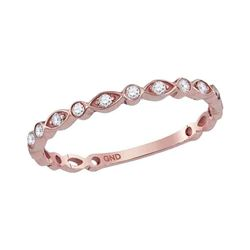 14kt Rose Gold Round Diamond Vintage Stackable Band Ring 1/8 Cttw