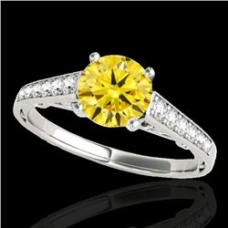 1.35 ctw Certified SI/I Fancy Intense Yellow Diamond Ring 10k White Gold