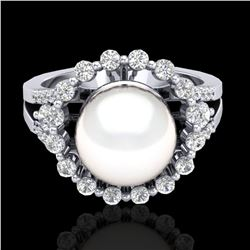 0.83 CT Micro Pave VS/SI Diamond Certified & Pearl Ring 18k White Gold