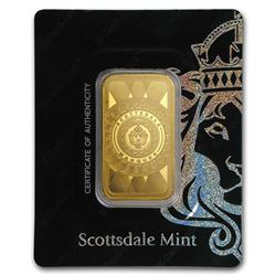 1 oz Gold Bar - Scottsdale Mint Certi-Lock® (Marquee, In Assay)