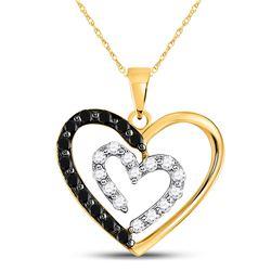 14kt Yellow Gold Round Black Color Enhanced Diamond Heart Pendant 1/2 Cttw