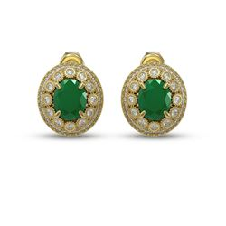 8.84 ctw Certified Emerald & Diamond Victorian Earrings 14K Yellow Gold