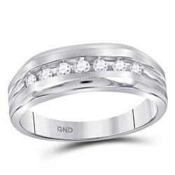 10kt White Gold Mens Round Diamond Wedding Single Row Band Ring 1/4 Cttw