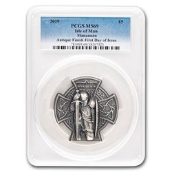 2019 Isle of Man 3 oz Silver Manannán MS-69 PCGS (First Day)