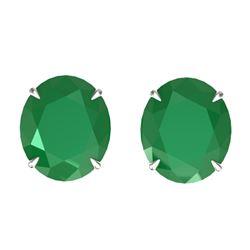 18 ctw Emerald Designer Solitaire Stud Earrings 18k White Gold