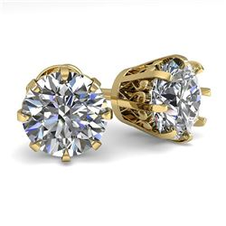 3.09 ctw VS/SI Diamond Stud Solitaire Earrings Vintage 18K Yellow Gold