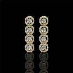 3.84 ctw Cushion Cut Diamond Micro Pave Earrings 18K Yellow Gold
