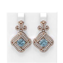 6.91 ctw Aquamarine & Diamond Earrings 18K Rose Gold