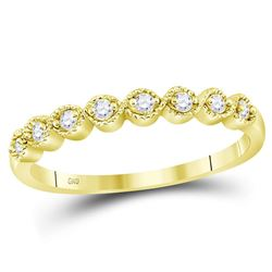 10kt Yellow Gold Round Diamond Stackable Band Ring 1/10 Cttw