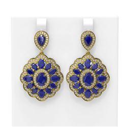 19.42 ctw Sapphire & Diamond Earrings 18K Yellow Gold