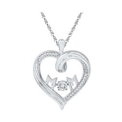 Sterling Silver Round Diamond Heart Mom Moving Twinkle Pendant 1/12 Cttw