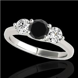 3 ctw Certified VS Black Diamond 3 Stone Solitaire Ring 10k White Gold