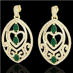 7 ctw Emerald & Micro Pave VS/SI Diamond Heart Earrings 18k Yellow Gold