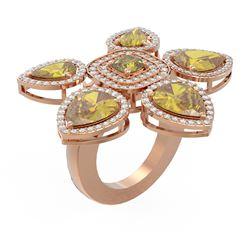 11.45 ctw Canary Citrine Diamond Ring 18K Rose Gold