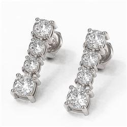 3.78 ctw Cushion Diamond Earrings 18K White Gold