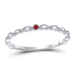 10kt White Gold Round Ruby Solitaire Stackable Band Ring .01 Cttw
