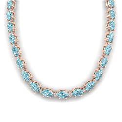 61.85 ctw Sky Blue Topaz & VS/SI Certified Diamond Necklace 10k Rose Gold