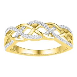 10kt Yellow Gold Round Diamond Woven Strand Braid Band 1/5 Cttw