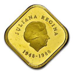 1980 Netherlands Antilles Gold Pattern 300 Gulden PF-63 NGC (UC)