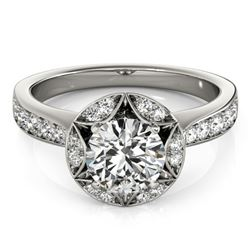 1.5 ctw Certified VS/SI Diamond Solitaire Halo Ring 14k White Gold