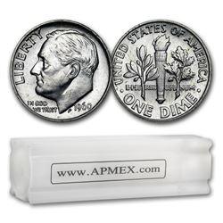 1960 Roosevelt Dime 50-Coin Roll BU
