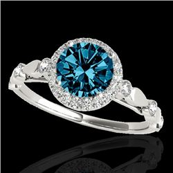 1.25 ctw SI Certified Fancy Blue Diamond Halo Ring 10k White Gold