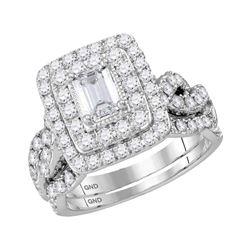 14kt White Gold Emerald Diamond Bridal Wedding Engagement Ring Band Set 2.00 Cttw