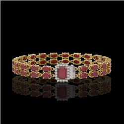 19.07 ctw Ruby & Diamond Bracelet 14K Yellow Gold