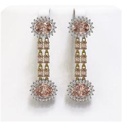 8.35 ctw Morganite & Diamond Earrings 14K Yellow Gold