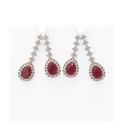 15.49 ctw Ruby & Diamond Earrings 18K Rose Gold