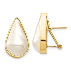 14k Yellow Au White Pear Mabe Pearl Omega Back Earring 12x20 mm