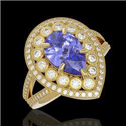 4.52 ctw Certified Tanzanite & Diamond Victorian Ring 14K Yellow Gold