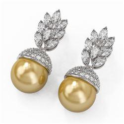 5.78 ctw Marquise Diamond & Pearl Earrings 18K White Gold