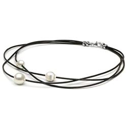 White South Sea Baroque Pearls on Braided Leather, 9-10m and 10-11m, Sterling Silver