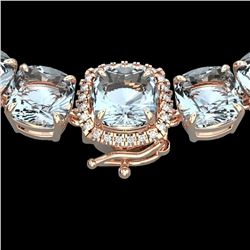 87 ctw Sky Blue Topaz & VS/SI Diamond Micro Necklace 14k Rose Gold